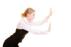 Femme d'affaires éloignant l'espace vide de copie Images libres de droits