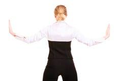 Femme d'affaires éloignant l'espace vide de copie Photo libre de droits