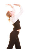 Femme d'affaires éloignant l'espace vide de copie Photographie stock libre de droits