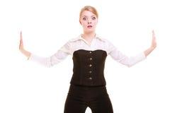 Femme d'affaires éloignant l'espace vide de copie Image libre de droits