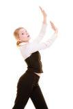Femme d'affaires éloignant l'espace vide de copie Photos stock