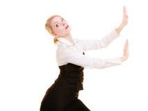 Femme d'affaires éloignant l'espace vide de copie Image stock