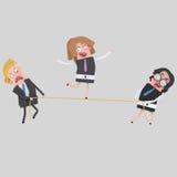 Femme d'affaires équilibrant sur la corde illustration de vecteur