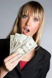 Femme d'affaires étonnée d'argent Images libres de droits