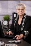Femme d'affaires aînée travaillant avec l'ordinateur Photos libres de droits