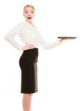 Femme d'affaires affichant l'espace de copie Publicité images libres de droits