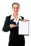 Femme d'affaires affichant le panneau indicateur images libres de droits
