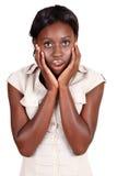 Femme d'affaires africaine d'Amercian dans le choc Images stock