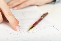 Femme d'affaires analysant des diagrammes d'investissement Images libres de droits