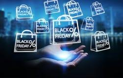 Femme d'affaires appréciant le rendu noir des ventes 3D de vendredi Photographie stock