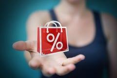 Femme d'affaires appréciant le rendu noir des ventes 3D de vendredi Photos libres de droits