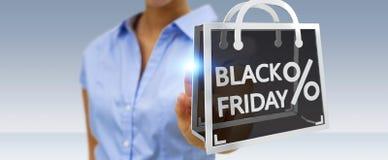 Femme d'affaires appréciant le rendu noir des ventes 3D de vendredi Image stock