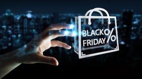 Femme d'affaires appréciant le rendu noir des ventes 3D de vendredi Image libre de droits