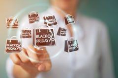 Femme d'affaires appréciant le rendu noir des ventes 3D de vendredi Photo stock