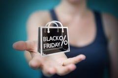 Femme d'affaires appréciant le rendu noir des ventes 3D de vendredi Images libres de droits