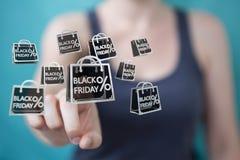Femme d'affaires appréciant le rendu noir des ventes 3D de vendredi Photos stock