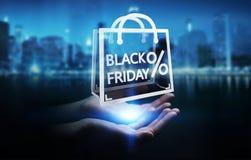 Femme d'affaires appréciant le rendu noir des ventes 3D de vendredi Photographie stock libre de droits