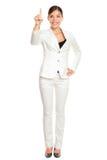 Femme d'affaires appuyant sur le bouton Images stock