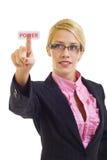 Femme d'affaires appuyant sur le bouton de pouvoir Images stock