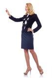 Femme d'affaires appuyant sur les boutons virtuels Photos stock