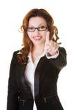 Femme d'affaires appuyant sur un bouton abstrait Photographie stock