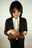 Femme d'affaires asiatique avec l'abaque Image stock