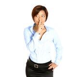 Femme d'affaires asiatique avec le doigt sur des languettes Image libre de droits