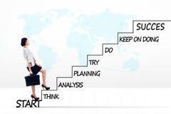 Femme d'affaires asiatique avec le plan de stratégie sur des escaliers Image stock