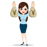 Femme d'affaires asiatique Holding Money Bags Images stock