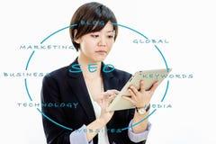 Femme d'affaires asiatique travaillant sur la tablette Image stock