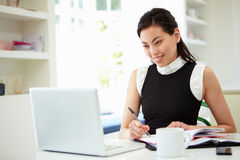 Femme d'affaires asiatique Working From Home sur l'ordinateur portable Image stock