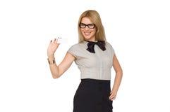 Femme d'affaires attirante avec la carte de visite professionnelle vierge de visite Images stock