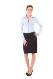 Femme d'affaires attirante dans la chemise et la jupe bleues Photographie stock libre de droits