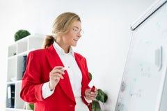 femme d'affaires attirante dans la position rouge de veste près du flipchart dans le bureau photos libres de droits