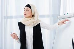 femme d'affaires attirante dans le hijab se dirigeant au conseil blanc au cours de la réunion photos libres de droits