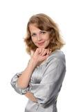 Femme d'affaires au-dessus du fond blanc Photo stock