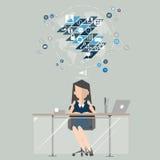 Femme d'affaires au marketing de travail Illustration plate de conception Photos libres de droits