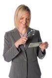 Femme d'affaires avec billet d'un dollar photos stock