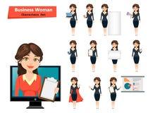 Femme d'affaires avec de diverses choses Ensemble de personnage de dessin animé mignon illustration stock