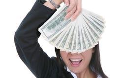 Femme d'affaires avec de l'argent Image stock