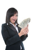 Femme d'affaires avec de l'argent Images libres de droits
