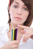 Femme d'affaires avec des crayons Image libre de droits