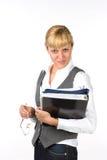 Femme d'affaires avec des documents Photo stock