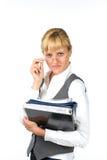Femme d'affaires avec des documents Images libres de droits