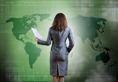Femme d'affaires avec des documents Photographie stock libre de droits