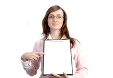 Femme d'affaires avec des fichiers Photographie stock libre de droits