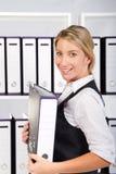 femme d'affaires avec des fichiers Photos stock