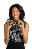 Femme d'affaires avec des jumelles Photographie stock