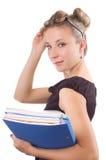 Femme d'affaires avec des papiers et des glaces Photographie stock libre de droits