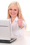 Femme d'affaires avec des pouces vers le haut Photo stock